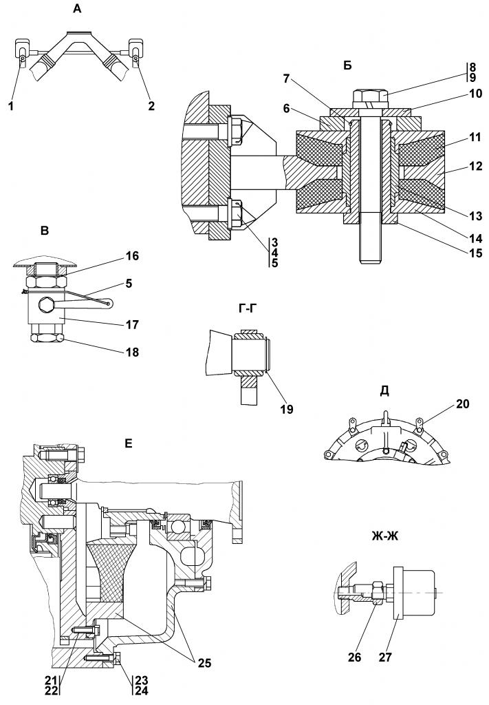 Поз.№25 - 1102-20-1СП Муфта упругая - Установка двигателя ЯМЗ-236ДК-7 | Каталог ЧЕТРА Т-11.01Я1, Т-11.01Я1М