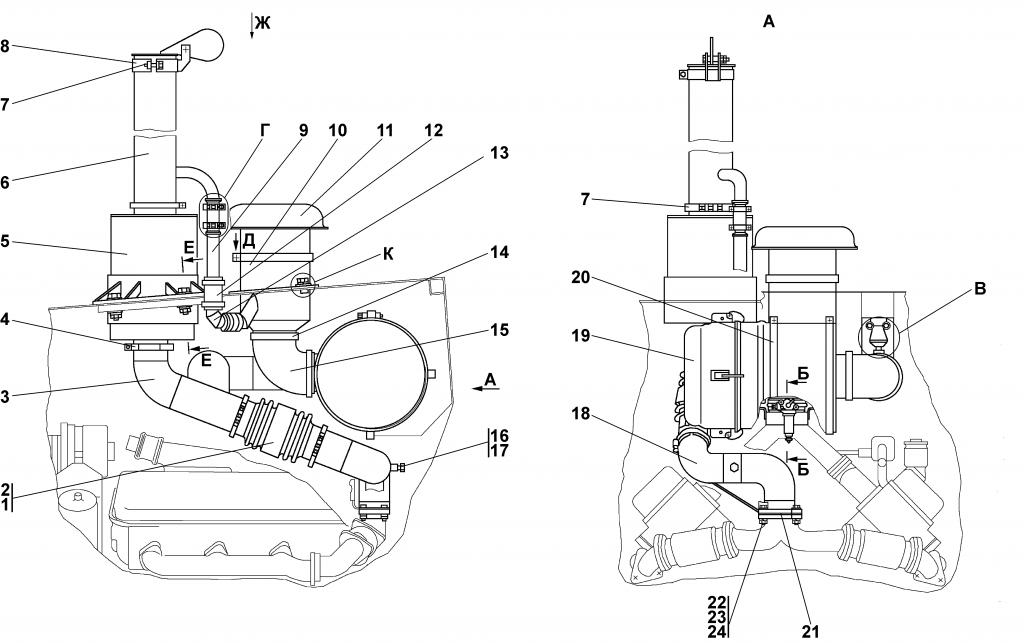 1102-05-1СП Установка систем воздухоочистки и выпуска