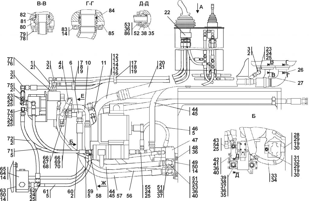 1101-26-2-01СП/-02СП Установка гидросистемы | Каталог ЧЕТРА Т-11.01Я1, Т-11.01Я1М