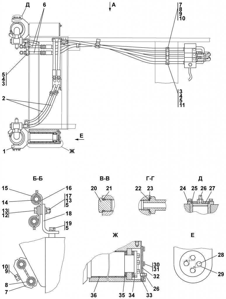 1101-26-12-01СП Установка гидроцилиндров | Каталог ЧЕТРА Т-11.01Я1, Т-11.01Я1М