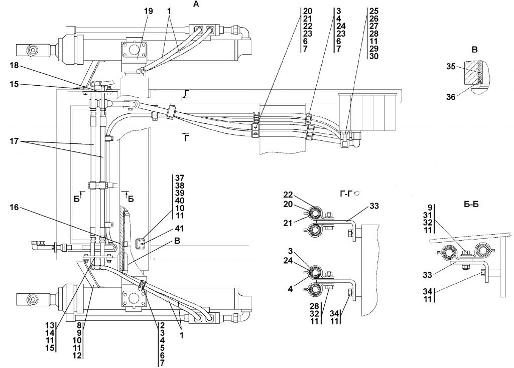 1501-26-10СБ Установка гидроцилиндров - Каталог ЧЕТРА Т-15.01Я, Т-15.01ЯМ