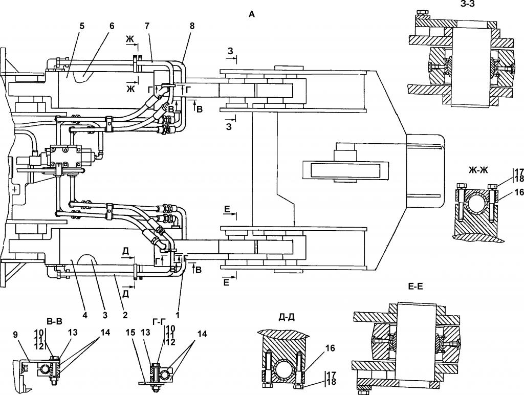 3501-98-501СП Гидросистема рыхлительного оборудования - Каталог ЧЕТРА Т-35, Т-35.01Я, Т-35.02К