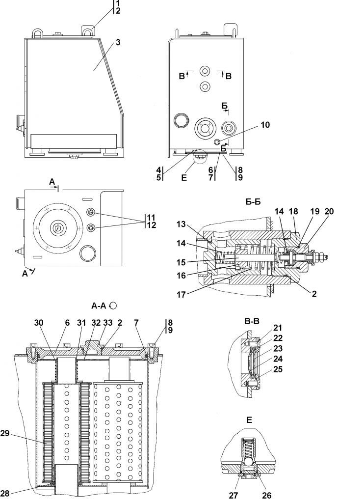 2001-26-30СБ Бак гидросистемы | Каталог запчастей ЧЕТРА Т-15.01Я, Т-15.01ЯМ