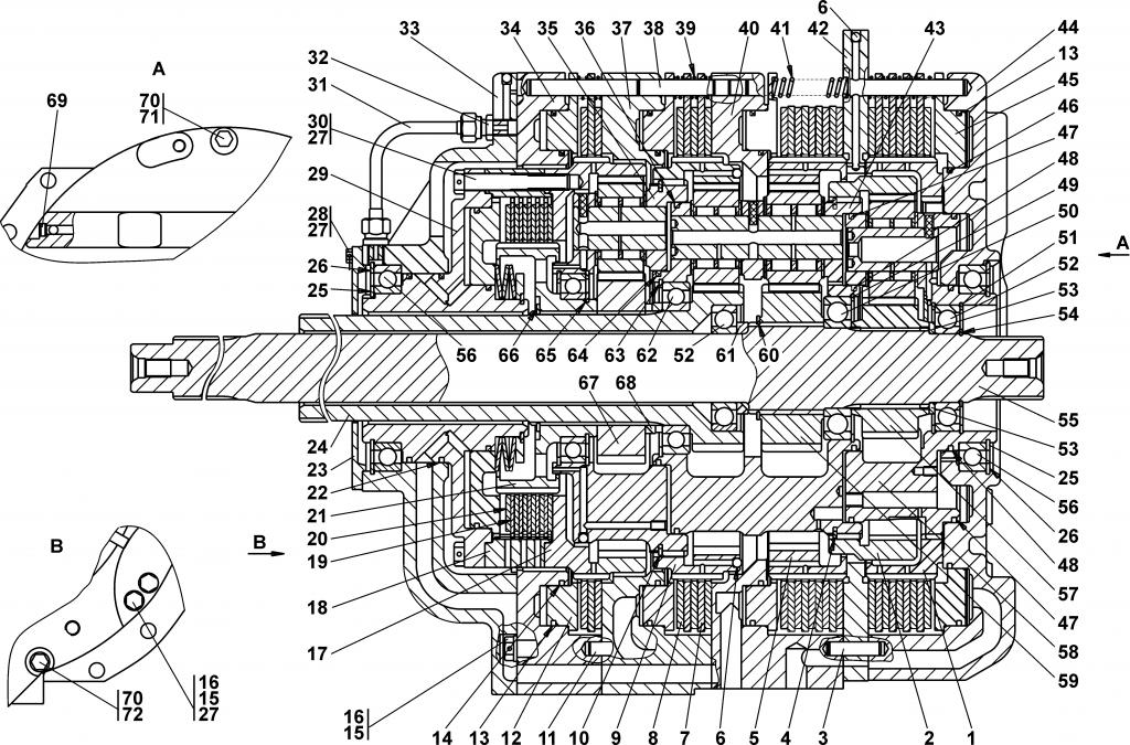 2501-12-20СП Коробка передач планетарная - Каталог ЧЕТРА Т-35, Т-35.01Я, Т-35.02К, ЧЕТРА Т-25, Т-25.01Я, Т-25.02К