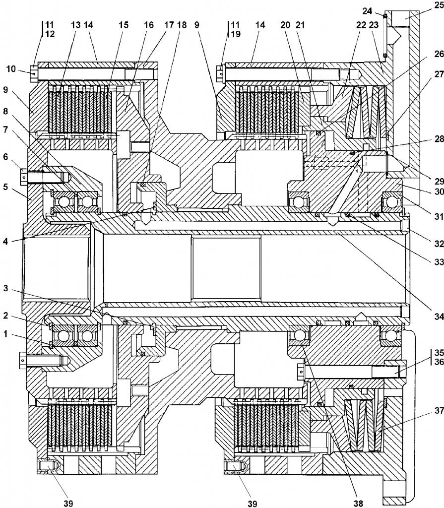 2501-18-16-01СП Фрикцион бортовой и тормоз остановочный — Каталог ЧЕТРА Т 35.01, ЧЕТРА Т 35, Т 3501, ЧЕТРА Т35