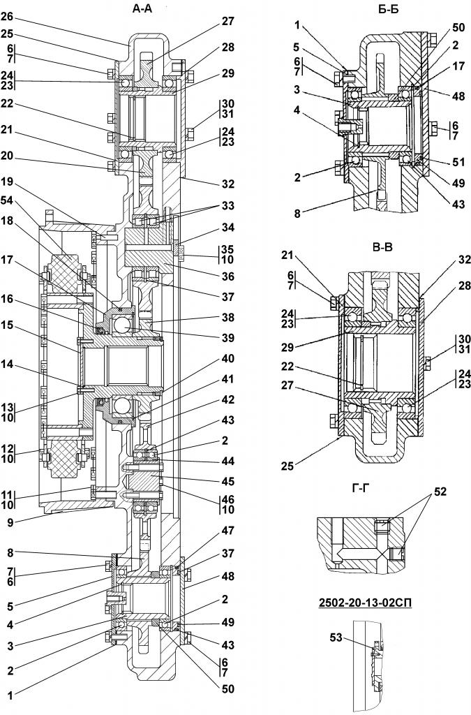 2502-20-13-02СП Редуктор привода насосов - Каталог ЧЕТРА Т 35.01, ЧЕТРА Т 35, Т 3501, ЧЕТРА Т35