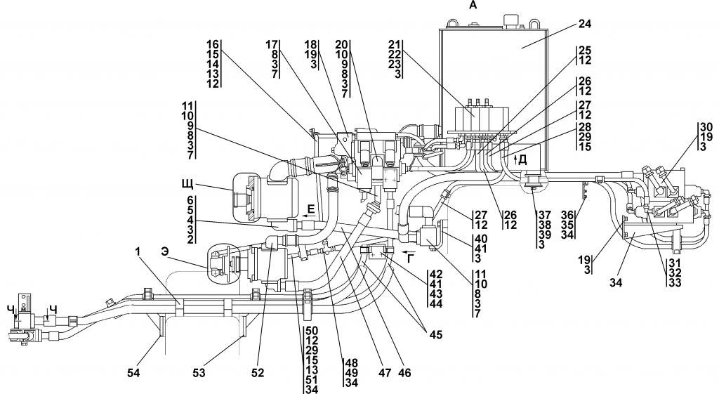 3501-26-3СП Установка гидросистемы - Каталог ЧЕТРА Т-35, Т-35.01Я, Т-35.02К 1