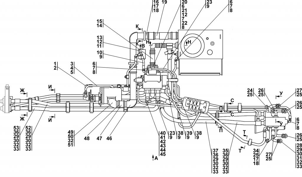3501-26-3СП Установка гидросистемы - Каталог ЧЕТРА Т-35, Т-35.01Я, Т-35.02К