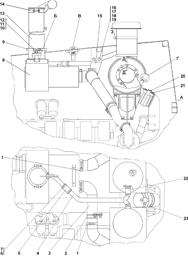 3502-05-3СП Установка систем воздухоочистки и выпуска - Каталог ЧЕТРА Т-35, Т-35.01Я, Т-35.02К