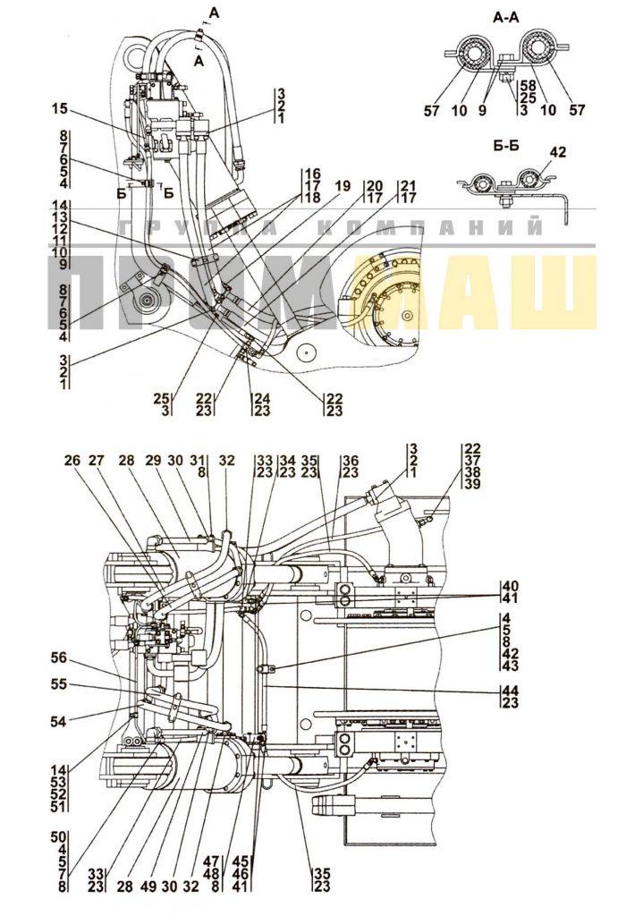3516-96-500СП Установка гидросистемы привода лебедки ЧЕТРА Т35, Т-35.01Я, Т-35