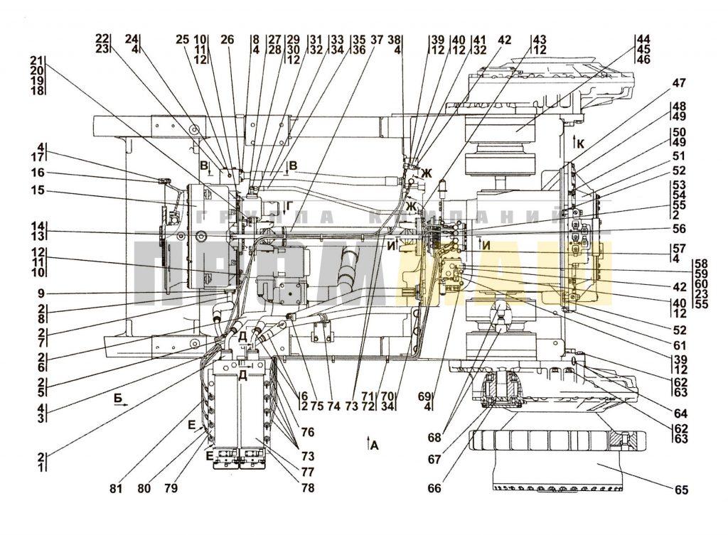 Поз.№15 - 4001-14-2СП Гидротрансформатор с редуктором привода насосов - 3516-16-1СП Установка трансмиссии ЧЕТРА Т35, Т-35.01Я, Т-35.02К