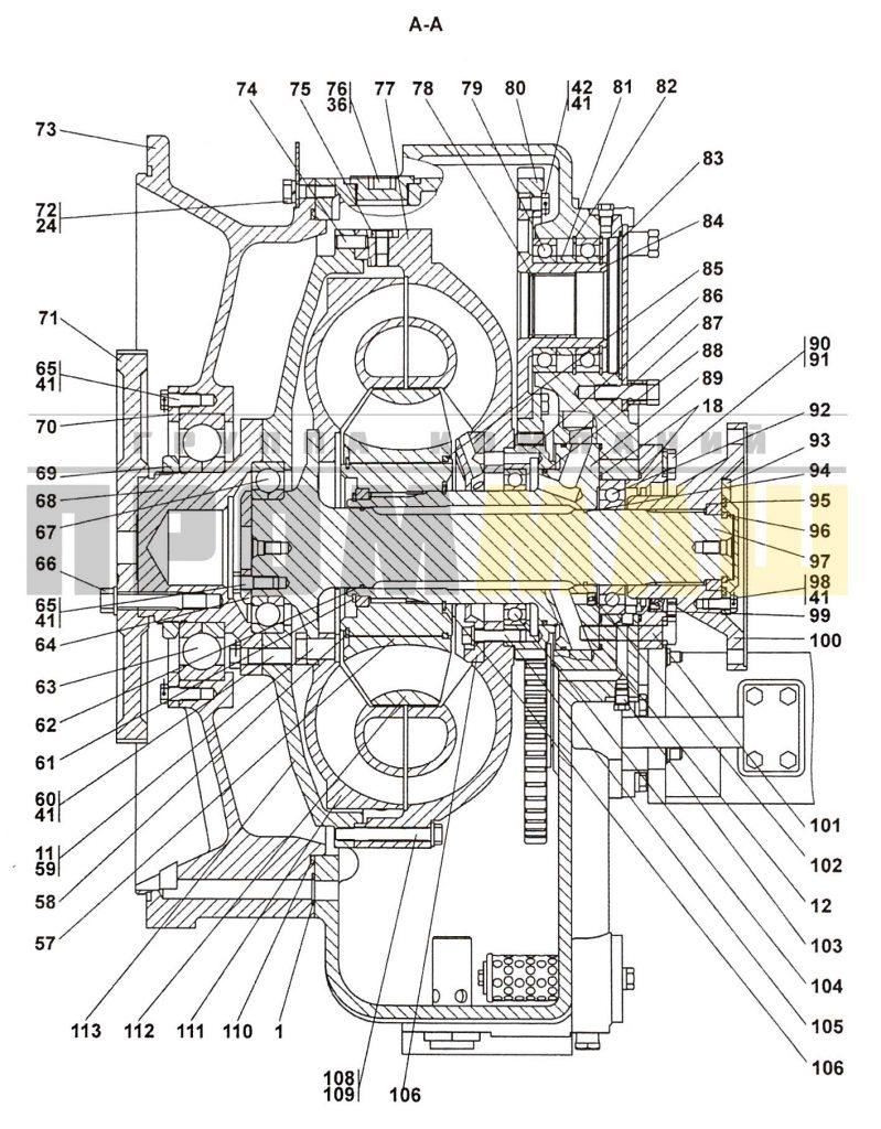 4001-14-2СП Гидротрансформатор с редуктором привода насосов ЧЕТРА Т35, Т-35.01Я, Т-35.02К