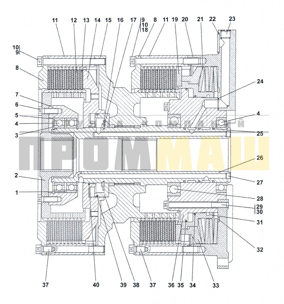4001-18-11СП Фрикцион бортовой и тормоз остановочный ЧЕТРА Т35, Т-35.01Я, Т-35.02К